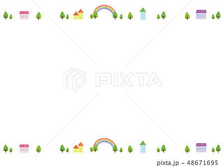 フレーム素材 可愛い風景5テクのイラスト素材 48671695 Pixta