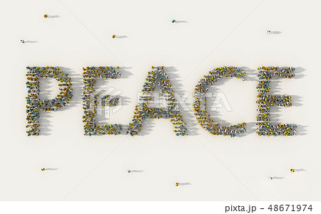 Large group of people forming Peace lettering text 48671974