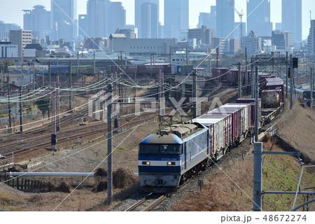 加島陸橋から捉えた新塗色EF210コンテナ貨物列車 48672274