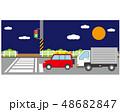 横断歩道 信号 車のイラスト 48682847