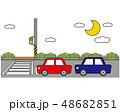 横断歩道 信号 車のイラスト 48682851