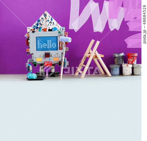Robotic decorator with paint roller and buckets. Purple colored room wall redecoration. Creative 48684526