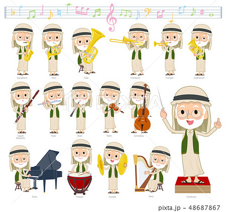 Arab Kandura old men_classic music 48687867