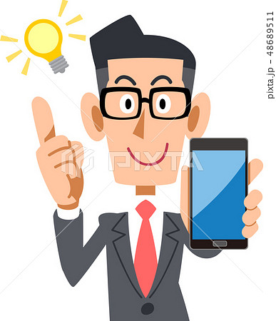 スマートフォンを持って閃く眼鏡をかけたビジネスマン 48689511