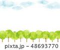 並木道と空 背景 水彩 48693770