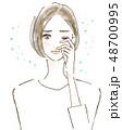 花粉 花粉症 女性のイラスト 48700995