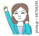 ガッツポーズ 成功 女性のイラスト 48708295