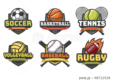 Sports balls logos. Sport logo ball soccer basketball volleyball football rugby tennis baseball 48712528