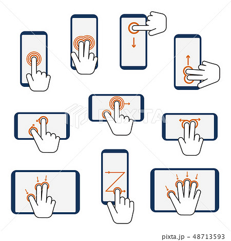 Hand Touchscreen Gestures Device Icon Set. Vector 48713593