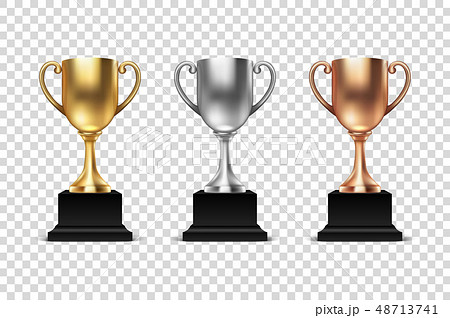 Vector 3d Blank Golden, Silver and Bronze Champion Cup Icon Set Closeup Isolated. Design Template of 48713741