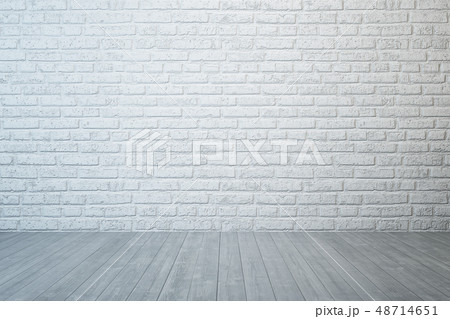 empty room with brick wall and concrete floor 48714651