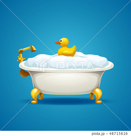 bathtub with foam on blue 48715616