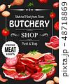 肉屋 お店 ベクトルのイラスト 48718869