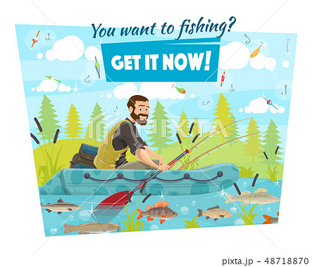 Fisherman in boat, fishing sport, hooks and baits 48718870