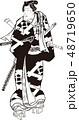 武士 大江戸五人男達之内 レトロのイラスト 48719650
