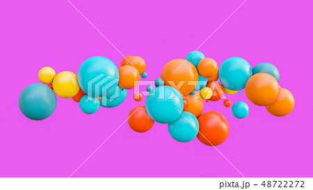 Flying spheres isolated on pink background 48722272