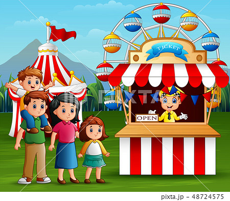 Happy family in the Amusement park 48724575