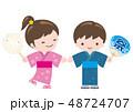浴衣 祭り 夏祭りのイラスト 48724707