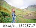 Beautiful happy little girl in mountains in the background of fog 48725717