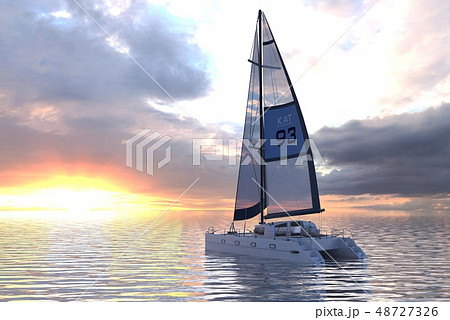 Sailing yacht on sea and sunset 3d illustration 48727326