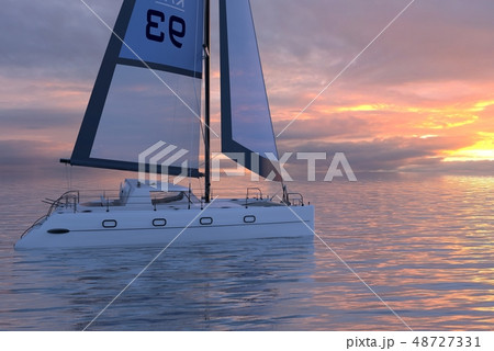 Sailing yacht on sea and sunset 3d illustration 48727331