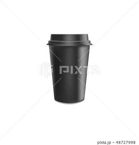 Black blank realistic paper coffee cup with lid mockup for cafe or restaurant brand identity. 48727998