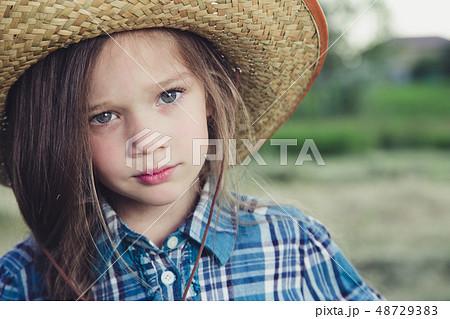 Portrait little girl Cowboy 48729383