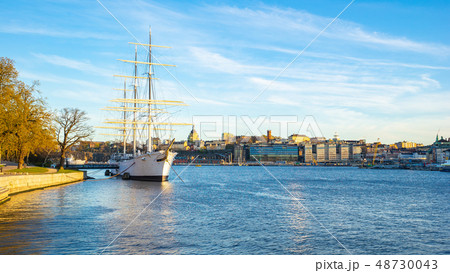 Stockholm cityscape with a ship in Stockholm 48730043
