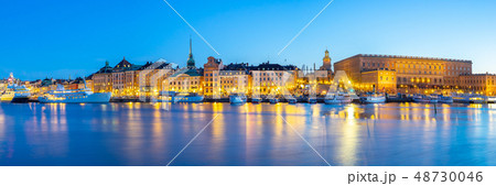 Stockholm cityscape at night in Stockholm city 48730046