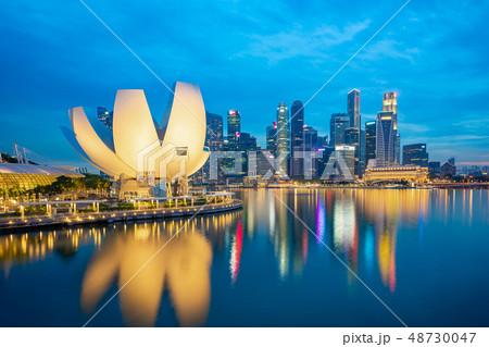 Night of Singapore city skyline 48730047