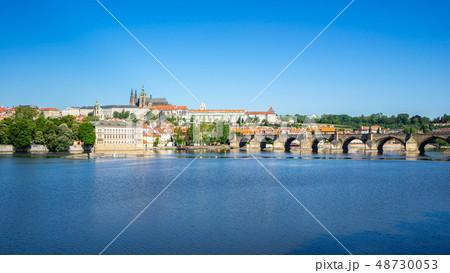 Charles Bridge with Prague city skyline in Prague 48730053