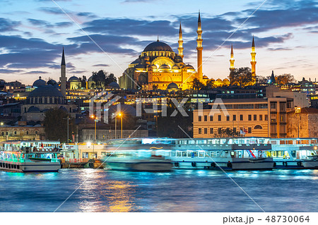 Istanbul cityscape skyline at night in Istanbul 48730064