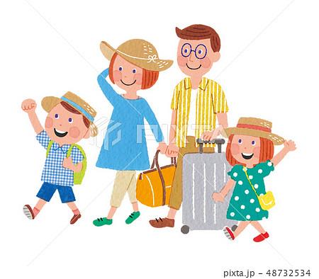家族旅行 手描き 48732534