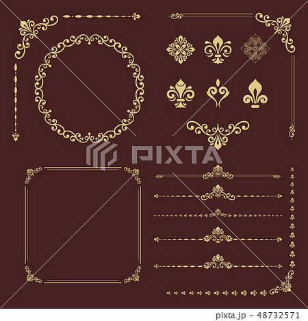 Vintage Set of Vector Horizontal, Square and Round Elements 48732571