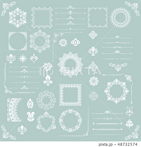 Vintage Set of Vector Horizontal, Square and Round Elements 48732574