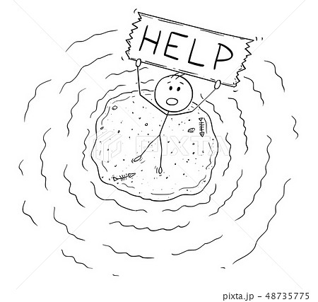 Cartoon of Aerial View of Castaway Man on Small Island Holding Help Sign 48735775