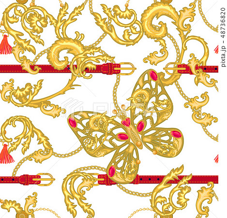 Trendy baroque style print with buttereflies.  48736820