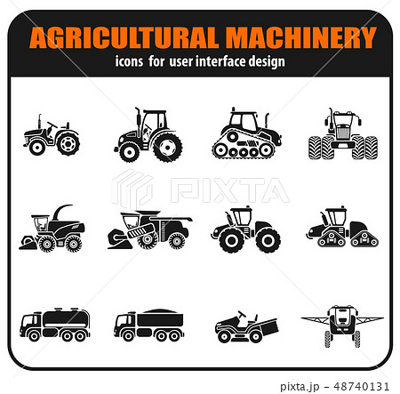Agricultural vehicles icons set 48740131