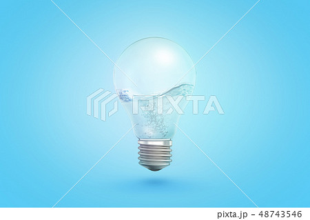 3d rendering of transparent light bulb with liquid inside on blue background 48743546