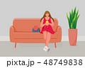 ソファー フォン 電話のイラスト 48749838