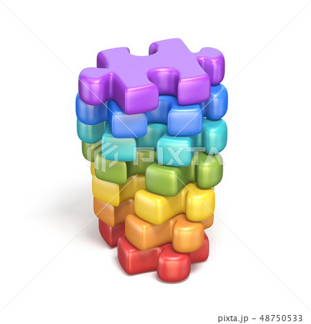 Rainbow colored puzzle jigsaw pieces 3D 48750533