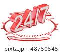 24/7 text on clock face 3D 48750545