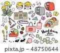 手書き風イラストセット素材〈小学校入学〉 48750644