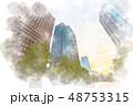 都会 高層ビル ビル群のイラスト 48753315