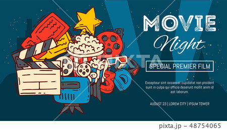 Cinema festival poster flyer media production background vector. Sale ticket banner. Movie time and 48754065