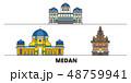 インドネシア 名所 アイコンのイラスト 48759941
