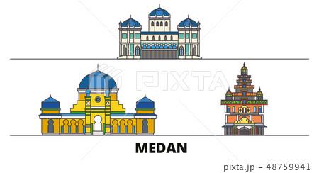Indonesia, Medan flat landmarks vector illustration. Indonesia, Medan line city with famous travel 48759941