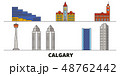 Canada, Calgary flat landmarks vector illustration. Canada, Calgary line city with famous travel 48762442