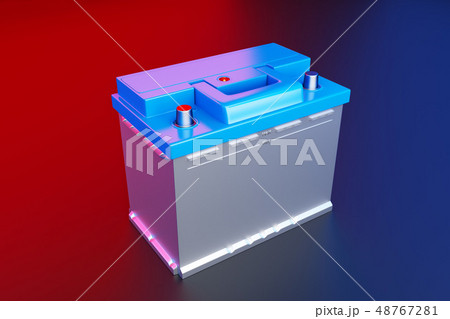 3D rendering. Car battery on multicolor background. 48767281