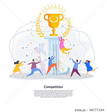 Tiny people are running a race for golden cup of winner. 48777184